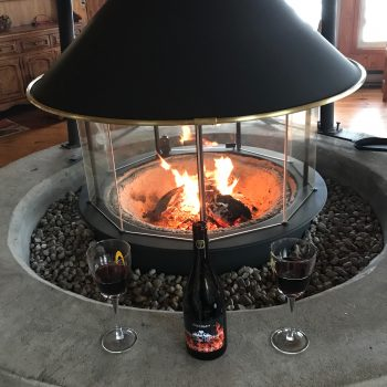 Fireplace with wine